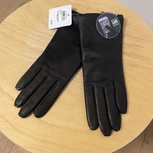 Nordstrom black leather cashmere lined gloves